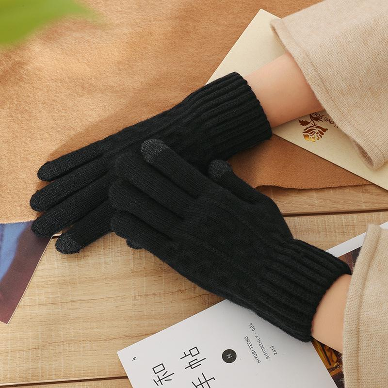 Female Knit Wool Twisted Flower Touch Screen Gloves