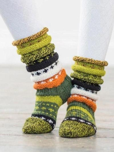 Color-blocking Gradient Pattern Knit Stockings