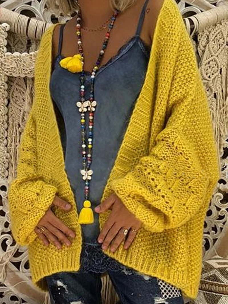 Solid Color Loose Women's Hollow Sweater Cardigan