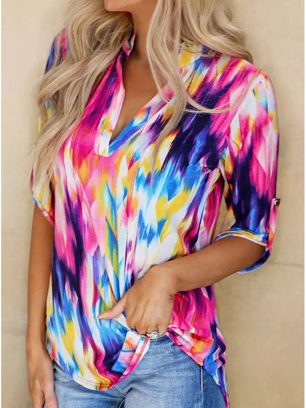 Women's Colorful Print V-neck Mid-sleeve Tops