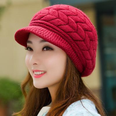 Pure Color Fashion Warm Rabbit Fur Knitted Hat