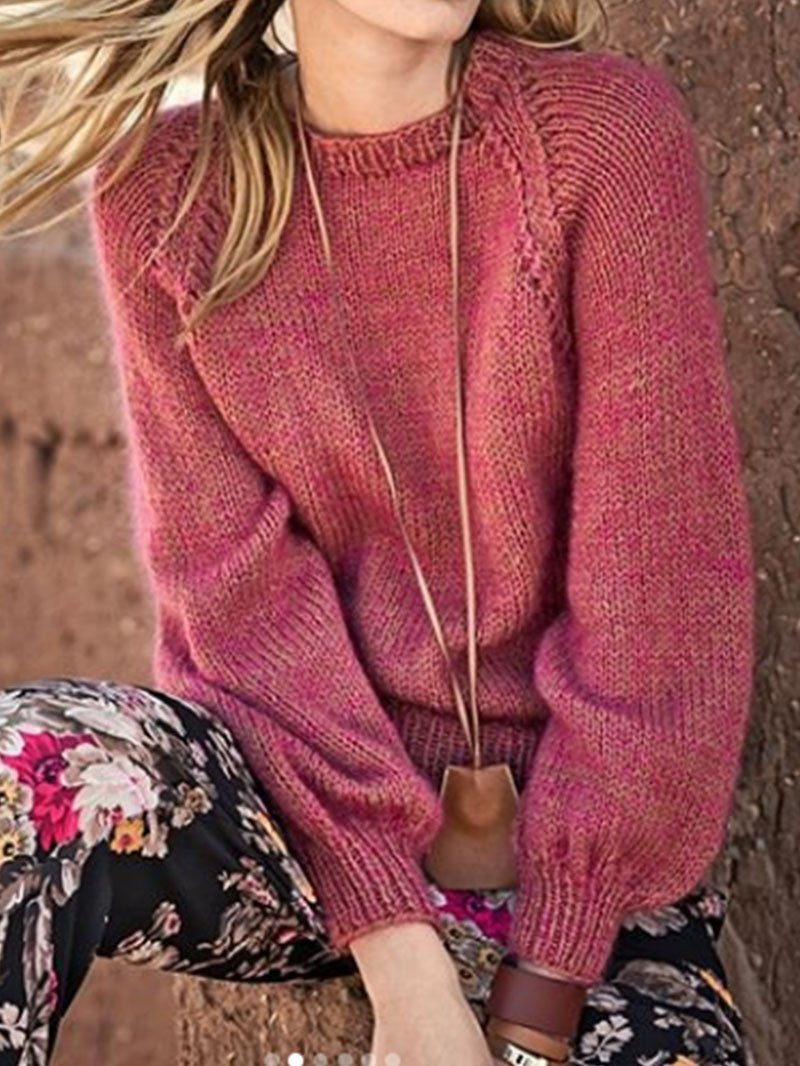 Fall and Winter Warm Bubble Long Sleeve Sweater Top