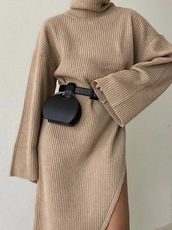FASHION CASUAL SOLID COLOR FLARED SLEEVE TURTLENECK SWEATER DRESS