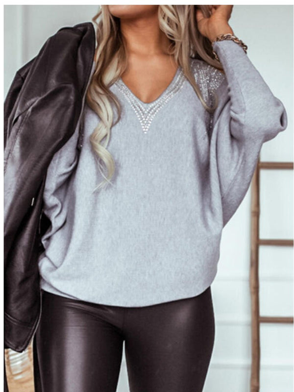 Women's V-neck Sexy Glitter Loose Tops