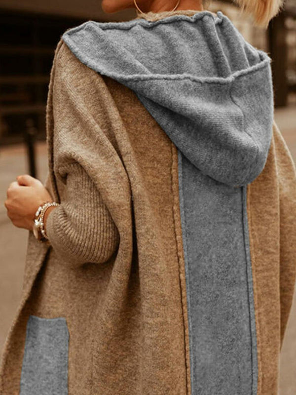 Knitted long sleeve coat with pockets for fall and winter