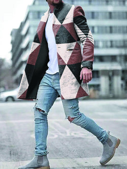 Colorblock Printed Woolen Suit Coat