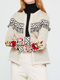 Tassel Print Short Jacket