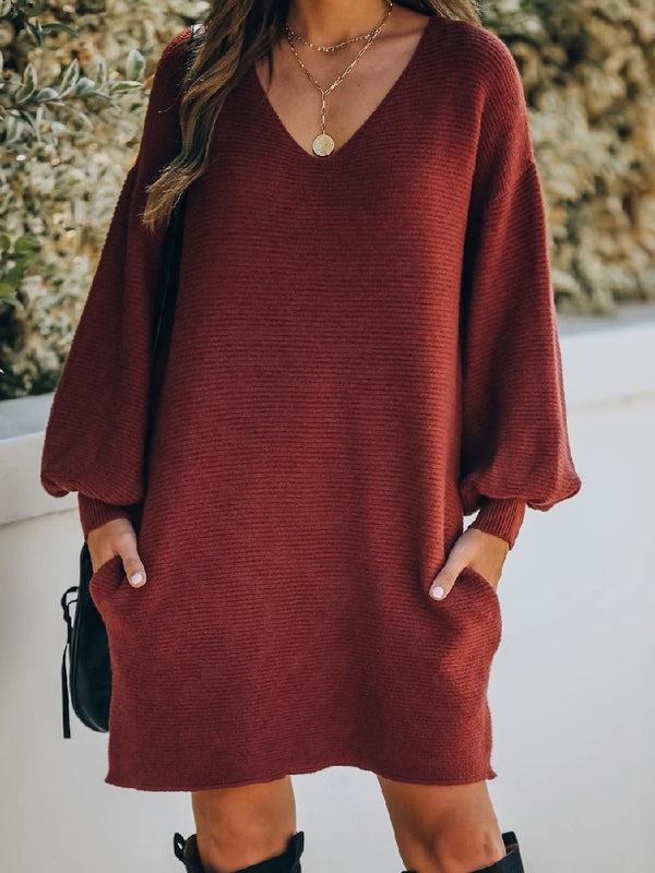 Solid Pocket Sweater Dress