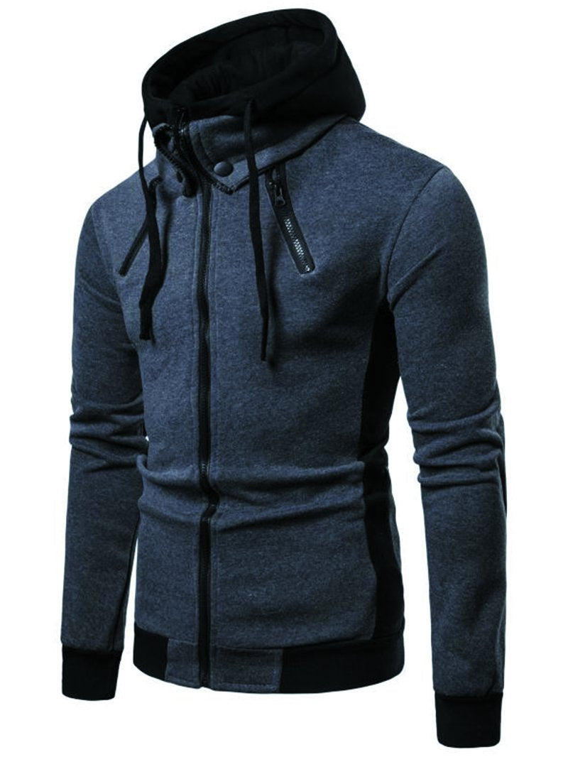 Fake Two Sports Hooded Long Sleeve Cardigan