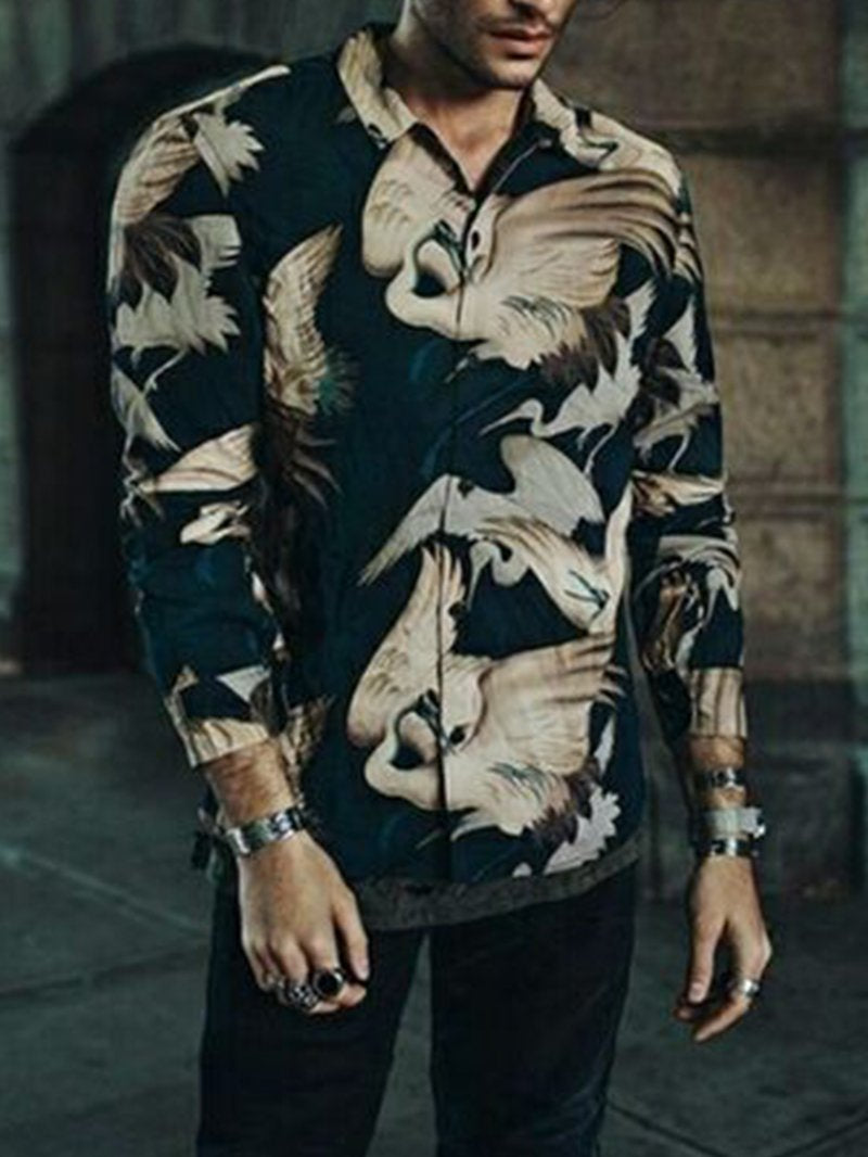 Fashion Big Flower Print Design Shirt