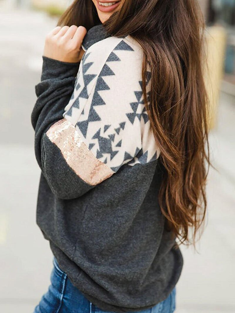 Geometric High Neck Zip Long Sleeve Sweatshirt Tops