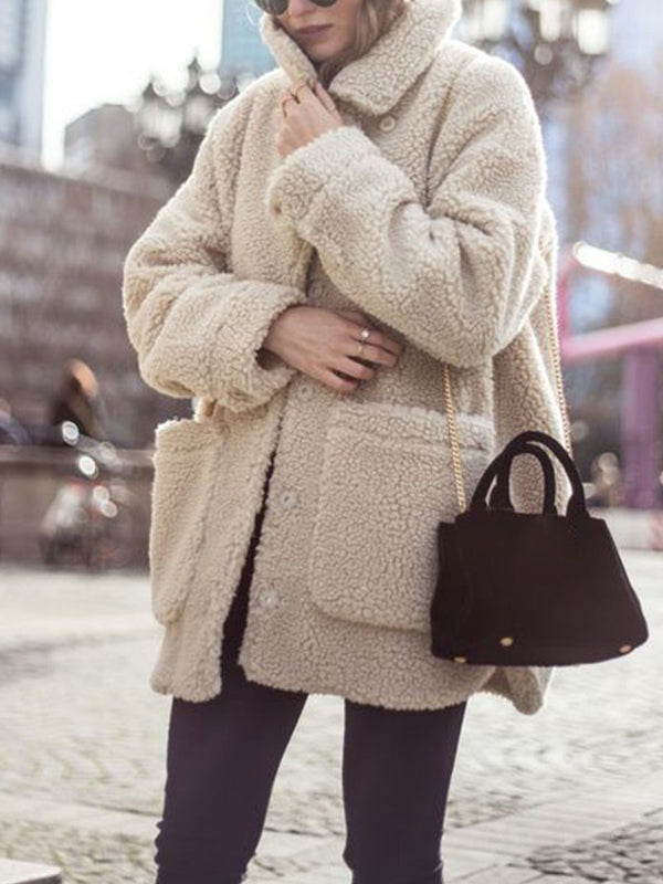 Pure Color Plush Coat with Lapel Pocket
