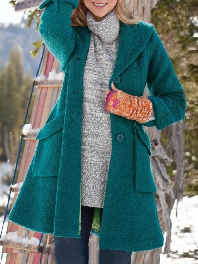 Casual Solid Hooded Long Sleeve Coat