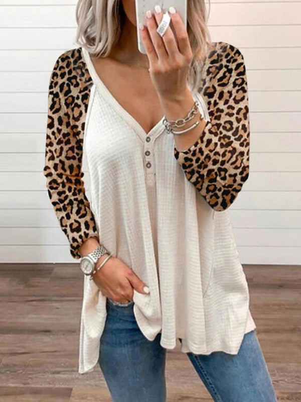 Women's Color Blocking Leopard Print Long Sleeve Tops