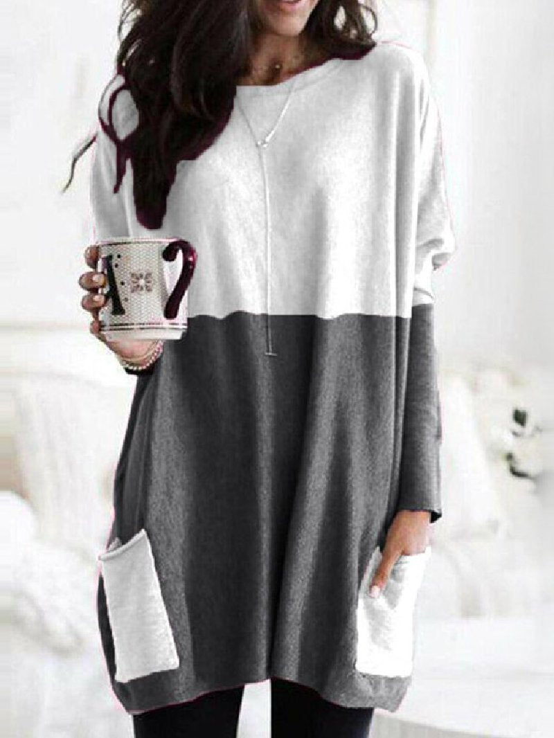 Casual Stitching Pocket Loose Round Neck Long Sleeve Top