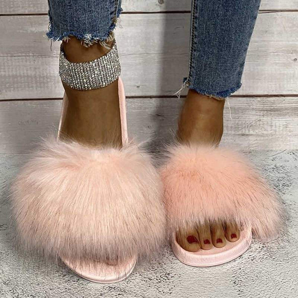 Fashion Plush Flat Bottom Sandals