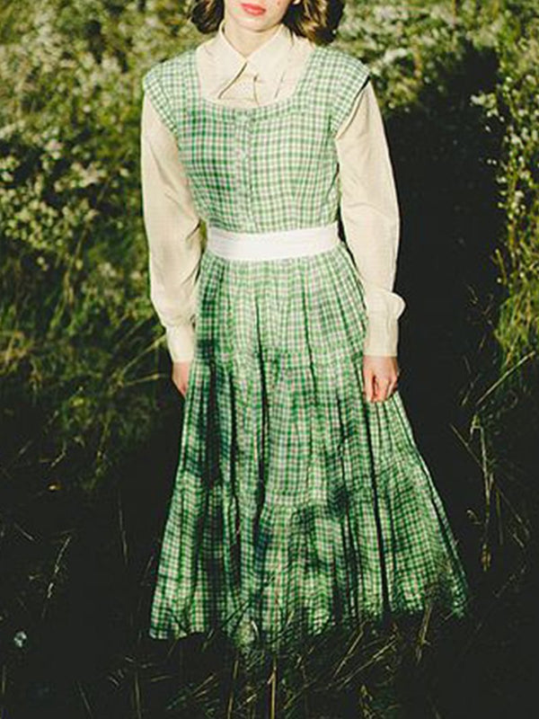 Pastoral Vintage Green Plaid Dress