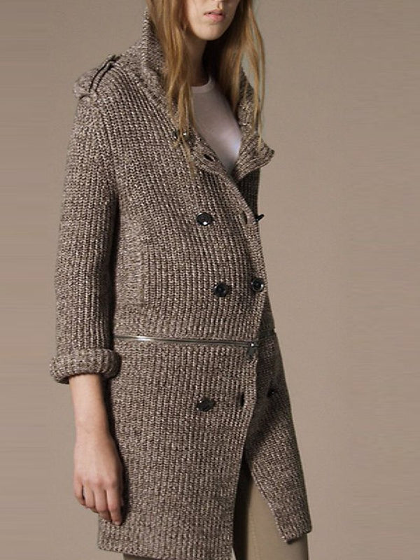 Fashion Zipper Stitching Button Knitted Sweater Coat