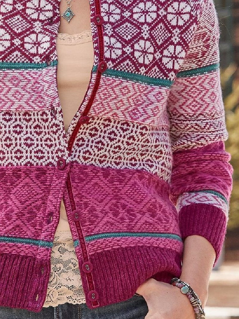 Casual Round Neck Long Sleeve Button Knitted Sweater Coat