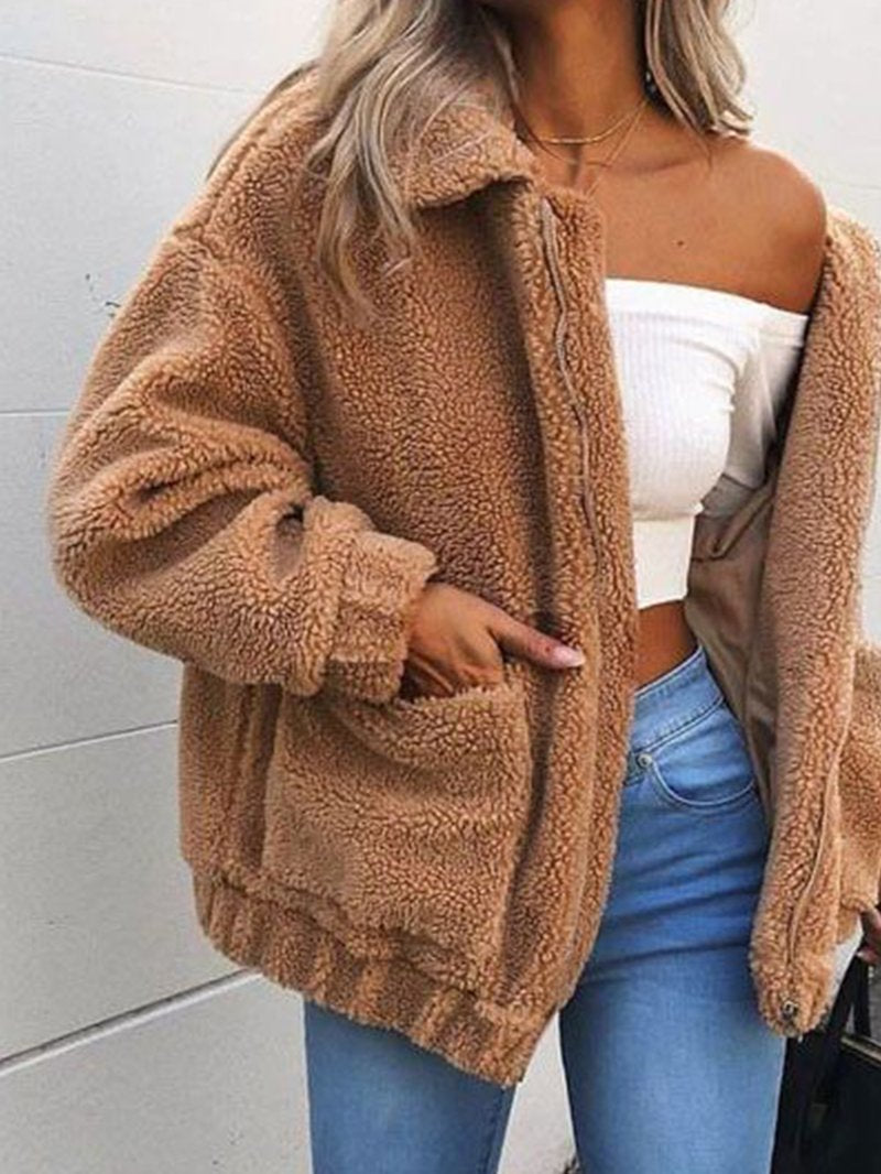 Pocket Solid Color Plush Thick Coat