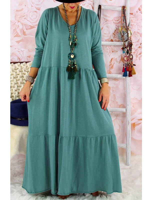 Vacation Casual Solid Color Long Skirt with Large Hem