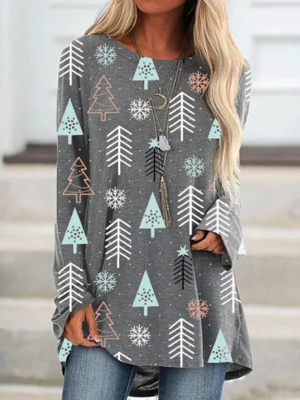 Round Neck Casual Long-sleeved Christmas Tree Print Top