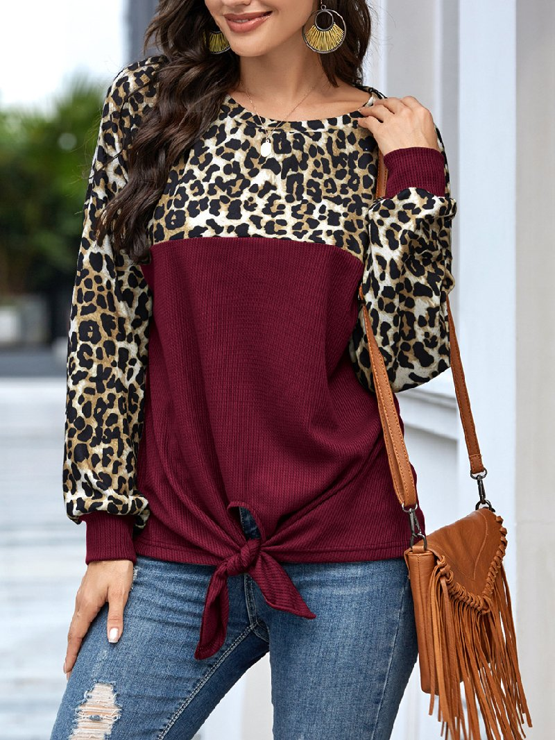 Women's Long Sleeve Leopard Print Bow T-shirt