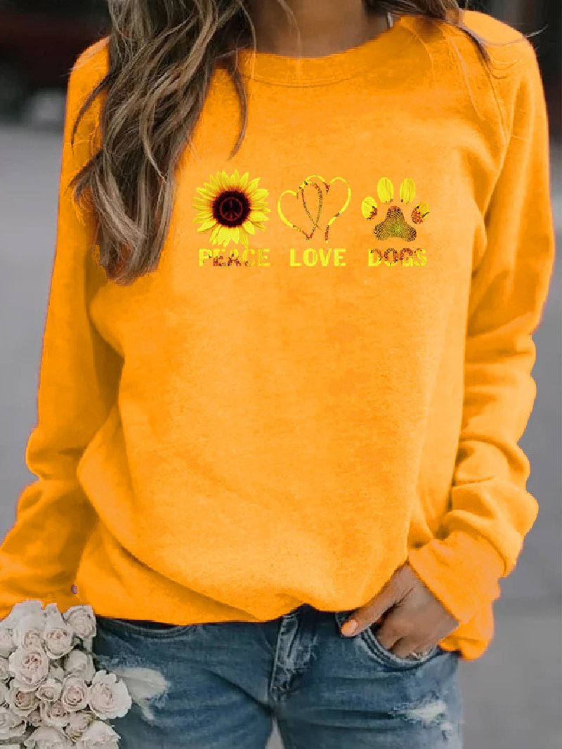 Women's Casual Loose Long Sleeve Printed Plus Size Sweatshirt