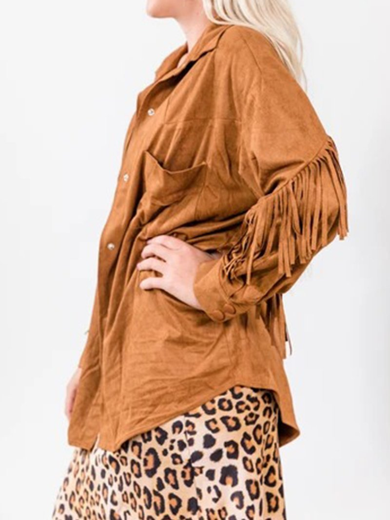 Velveteen Fringed Casual Shirt Top
