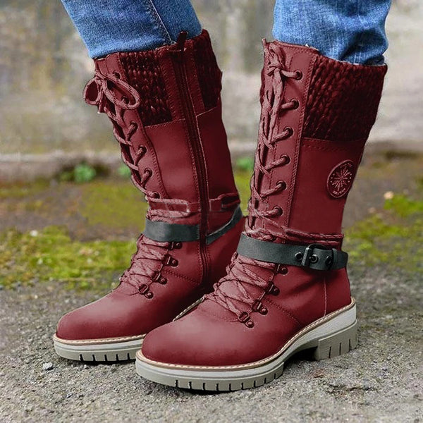 Lace-up Knitted Line Patchwork Martin Boots