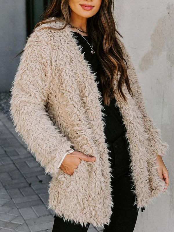 Fashion Long-sleeved Solid Color Plush Coat