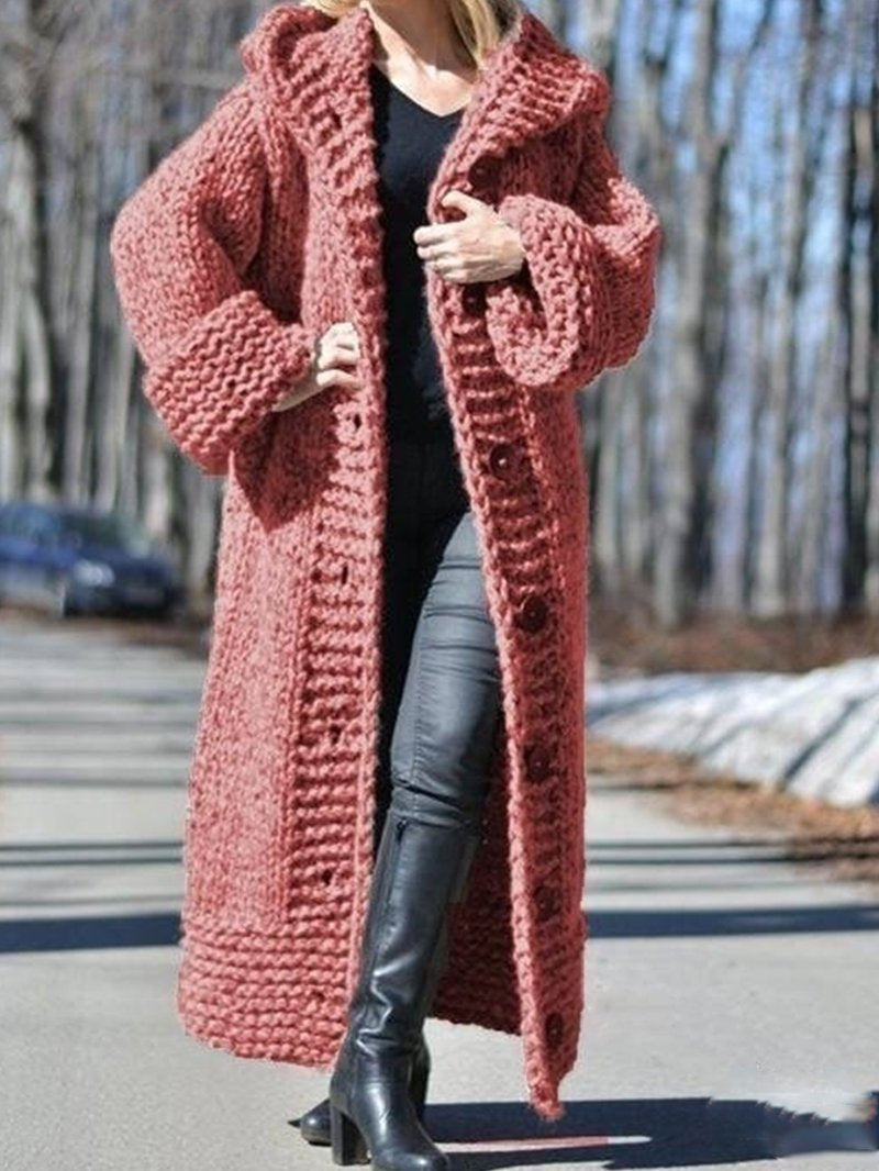 Solid Medium-length Jumper Sweater Coat