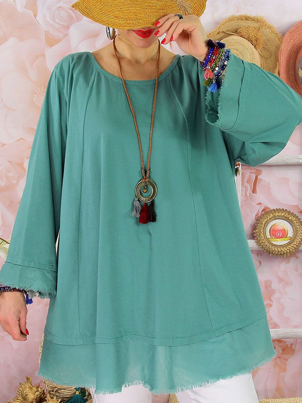 Cotton and Linen Solid Color Round Neck Splicing Top