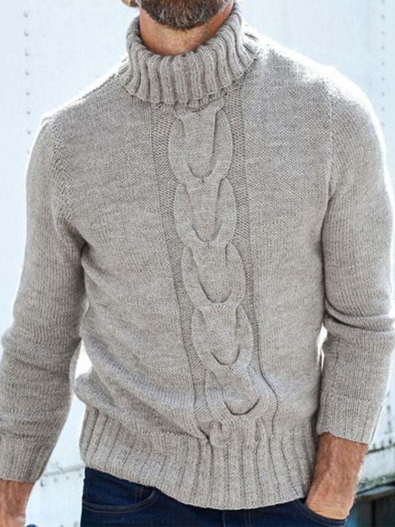 Pattern Turtleneck Solid Color Sweater