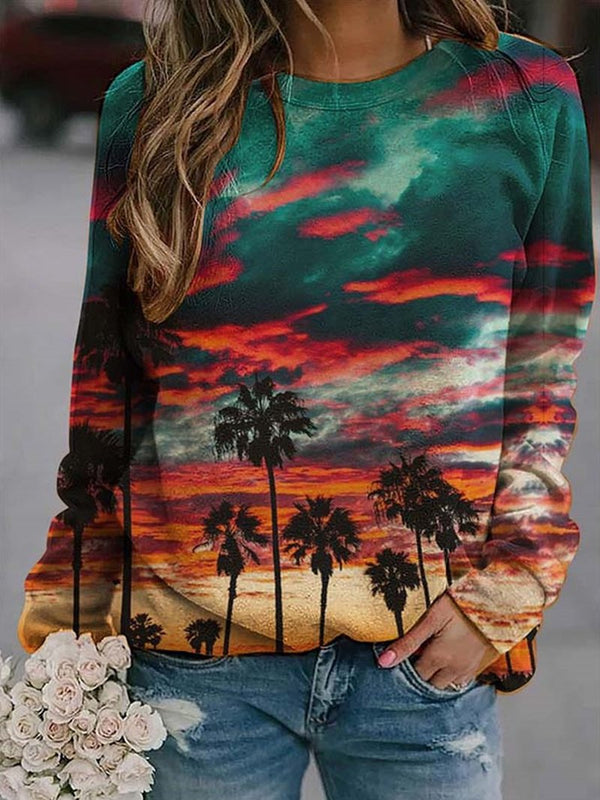 Burning Clouds Coconut Long Sleeve Print Crew Neck Sweatshirt
