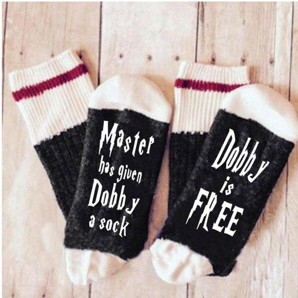 Master Has Given Dobby Letter Cotton Socks