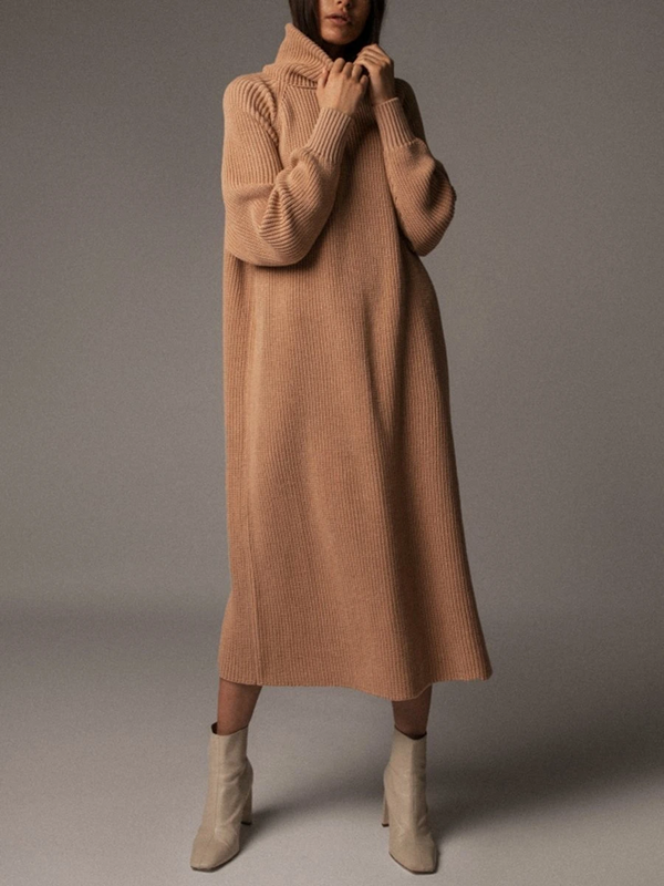 SOLID COLOR TURTLENECK CASUAL SWEATER DRESS