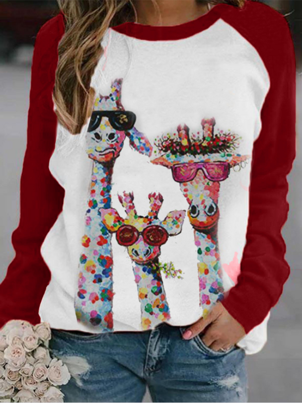 Deer Head Print Sweatshirt