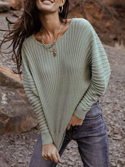 Fall/Winter Striped Crew Neck Sweater Top