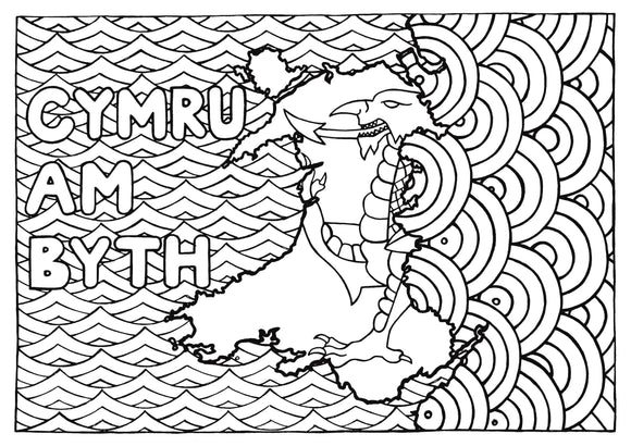 Welsh Words Colouring Sheets