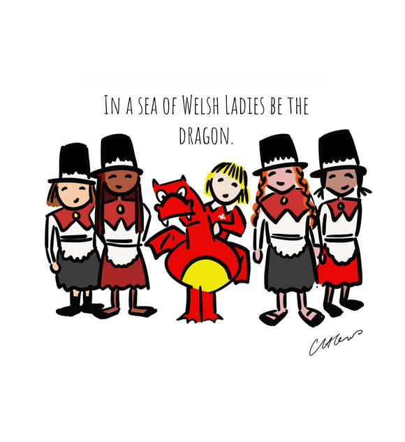 In A Sea Of Welsh Ladies Be The Dragon