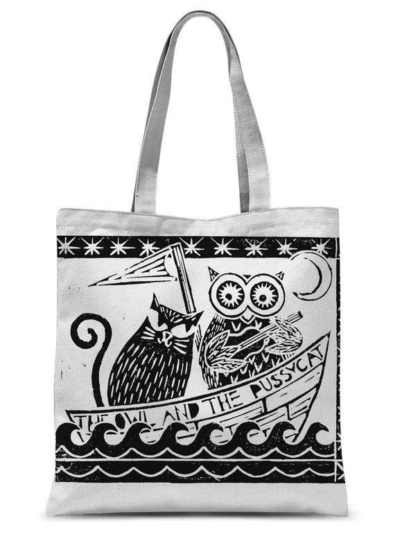 The Owl And The Pussycat, White Background Sublimation Tote Bag