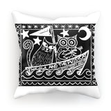 The Owl And The Pussycat, Black Background Cushion