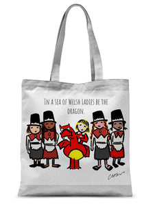 In A Sea Of Welsh Ladies Be The Dragon Sublimation Tote Bag