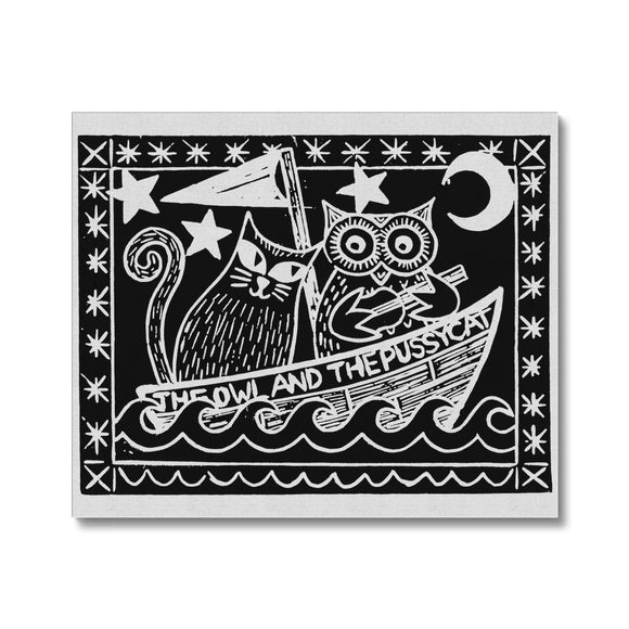 The Owl And The Pussycat, Black Background Canvas