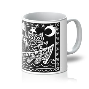 The Owl And The Pussycat, Black Background Mug