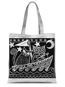 The Owl And The Pussycat, Black Background Sublimation Tote Bag