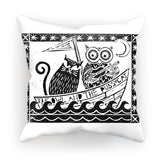 The Owl And The Pussycat, White Background Cushion