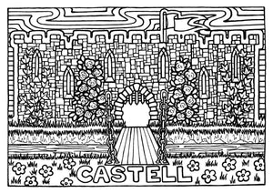 Castell - Welsh Words Colouring Sheet - Digital Download