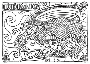 Ddraig - Welsh Words Colouring Sheet - Digital Download